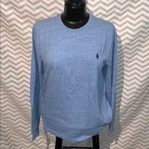 Men's Baby Blue Crew Neck Polo Shirt (Medium)